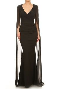 0afbafcb77f Black Cape Maxi Dress Evening Formal Ball Gown Simple Elegance V ...