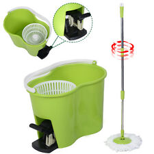 Microfiber Spinning Mop Easy Floor Mop W/Bucket 2 Heads 360 Rotating Head G
