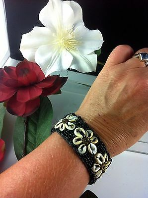 Surf Braclet Black Cowrie Shell Beads 13cm 9cm Ties Adjustable Gypsy Kuchi BoHo