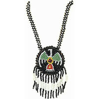 Native American Indian Pendant Beaded Fringe Necklace Costume Jewelry