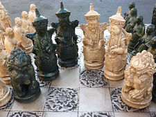 Chinese Imperial Chess Set, Customisable Colours (Pieces Only) Foo Dogs