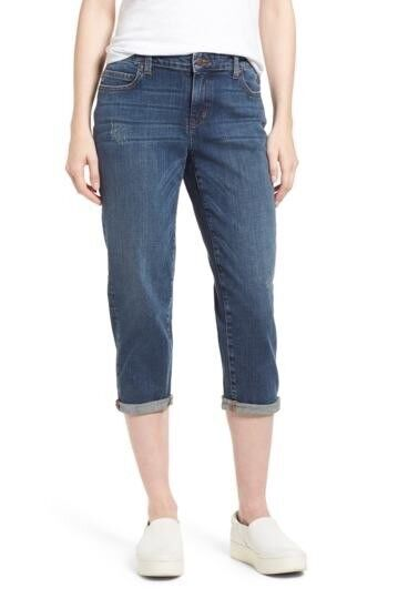 New Eileen Fisher Tapered Stretch Organic Cotton Crop Jeans Size 14 MSRP  178