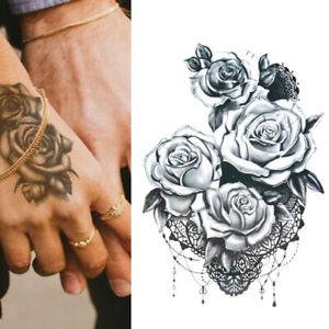 Temporary-Tattoo-Black-Double-Rose-Flower-Body-Art-Transfer-Sticker-Ladies-Mens