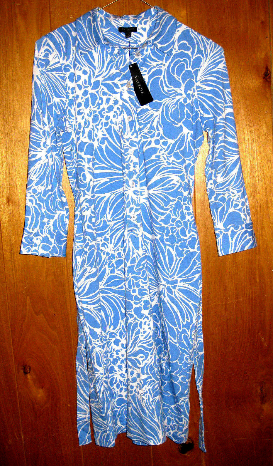 Talbots Petites Dress Light Sky bluee White Floral Womens Size P Stretch  NWT
