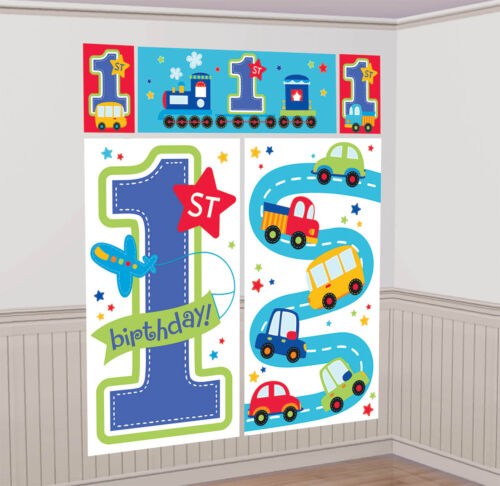 Giant Scene Setter HAPPY 1st BIRTHDAY BOY Blue 1 Today Party Prop Decoration 6ft