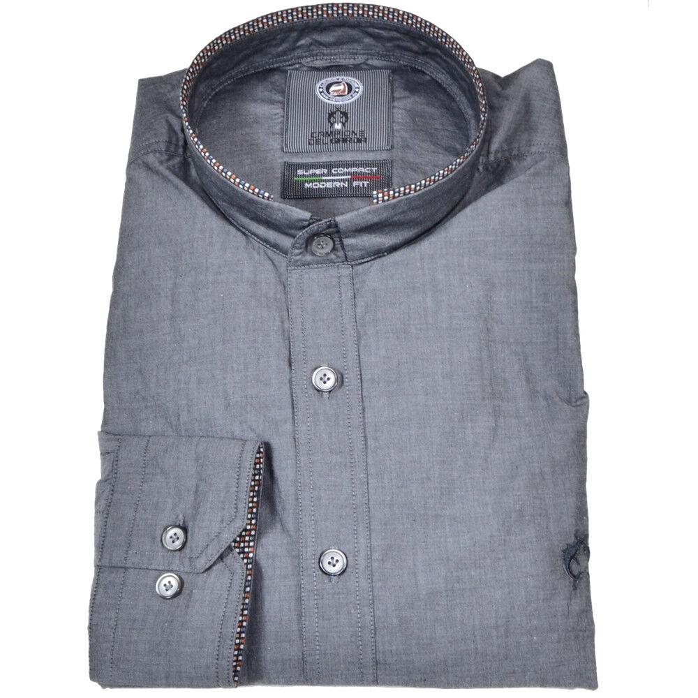 Uomo Camicia  Livigno  Modern Fit manica lunga collo alla coreana grigio taglia M, L, XXL