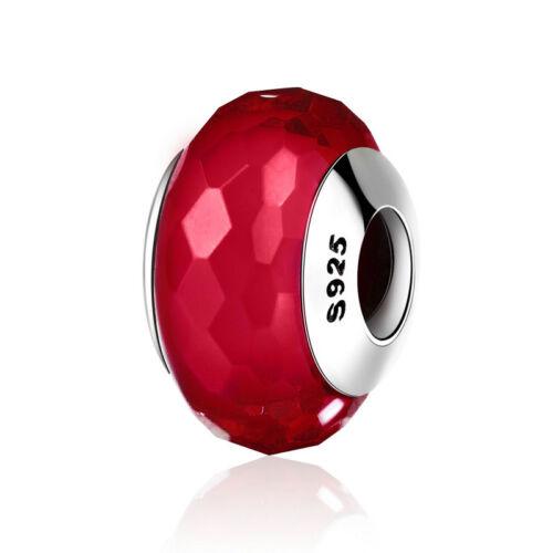 DIY European 925 sterling silver Fascinating Red  LAMPWORK Murano Glass