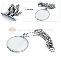 5x Silver Tone Magnifying Glass Lens Necklace Magnifier 36 Chain Jewelry Hobby