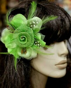 """New Millinery Flower 4"""" Silk Straw Feathers 1pc Hair Accessory Lime Clip/ Pin"""