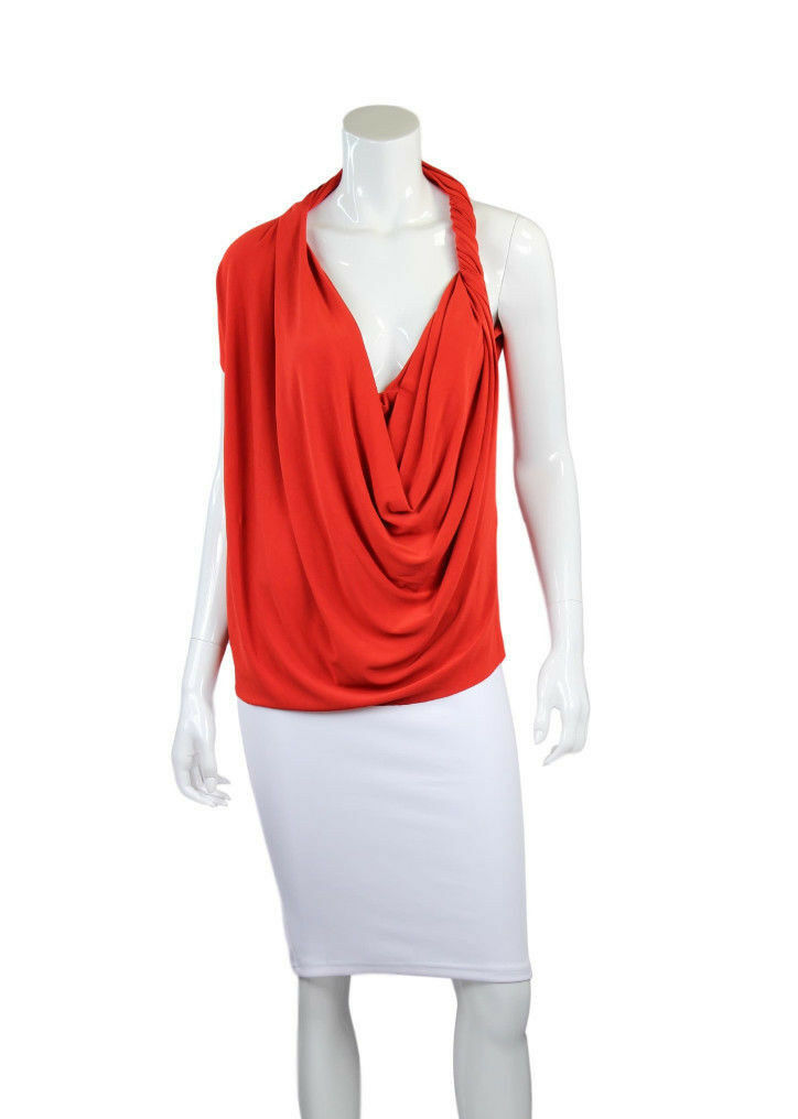 NWT LANVIN 2012 Red Draped & Waterfall Sleeveless Top - Size 8 (Retail  ,360)