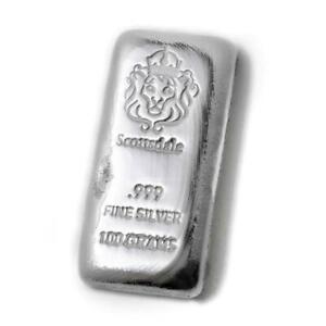 Lingot-100-Grammes-Argent-Pur-999-Scottsdale-100-Gram-Fine-Silver-999-Cast-Bar