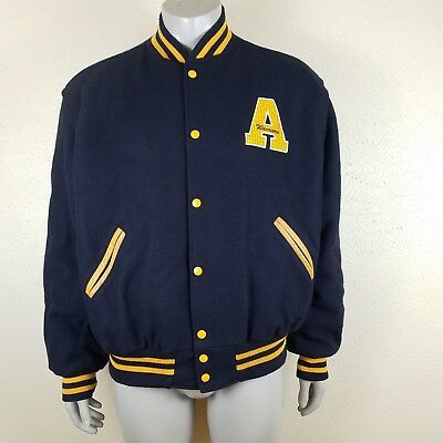 The Original Holloway Varsity Jacket A Warriors XL Wool Navy Gold Leather  Coat | eBay