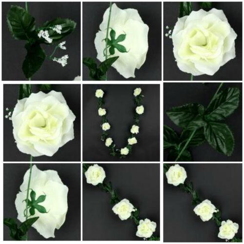 2,50 m roses Guirlande 9 Fleurs Art Fleurs Fleurs Mariage Baptême Décor Crème k033
