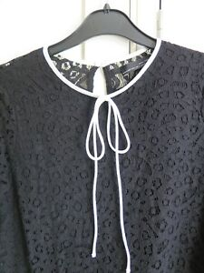 30f0728ee32f6b Zara black lace crop top size small white piping bow at front button ...