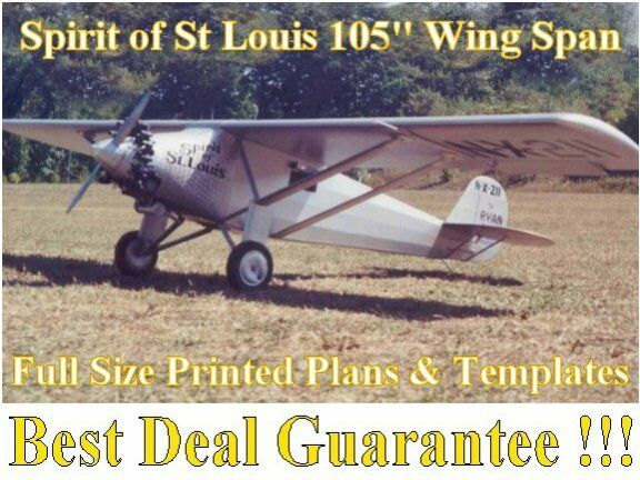 """Spirit of St Louis 105"""" WS Giant 1/4 Scale RC Airplane PRINTED Plans & Templates"""