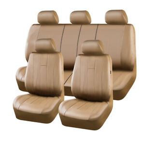 Classical-Universal-Brown-Luxurious-Leather-Car-Seat-Covers-Airbag-Compatible