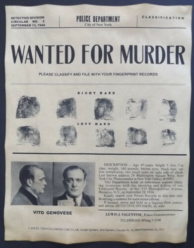 mobster mafia gangster Vito Genovese Wanted Poster Don Vitone