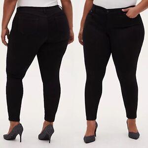 Torrid Luxe Skinny Jeans Sateen Stretch Black Denim High Rise Women Plus Size 22