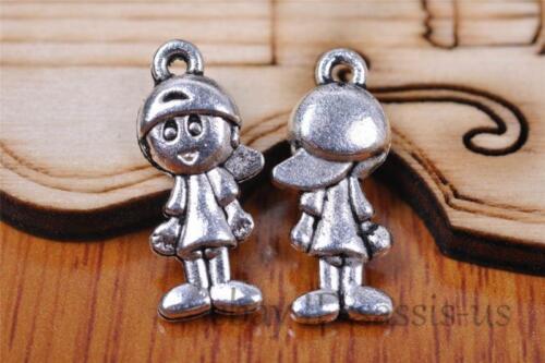 20pcs Charm boy girl silver pendant 4 style DIY Jewelry Making Fit Bracelet