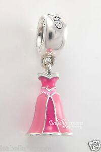 Disney Aurora Dress Genuine Pandora Silver Pink Enamel