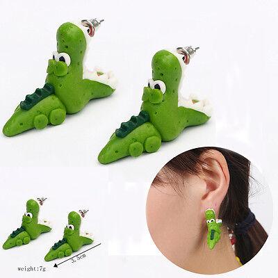 1 Pair Cartoon 3D Animal Funny Open Mouth Crocodile Ear Stud Earring Jewelry