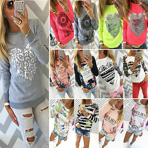 Damen-Langarm-Hoodie-Kapuzenpullover-Pulli-Sweatshirt-Tops-Shirt-Oberteil-Herbst