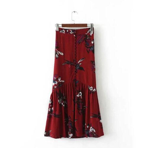 Elegante Mujeres De colección Verano Floral Boho Maxi Falda Cintura Alta Falda dividida