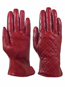 Giromy-Samoni-Womens-Warm-Winter-Leather-Quilted-Dress-Driving-Gloves-Red