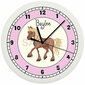 Details About Personalized Pink Little Pony Wall Clock Horse Girls Bedroom Decor