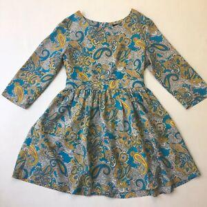 H-amp-M-Paisley-Print-A-line-Short-Dress-3-4-Sleeve-Size-EUR-40-AUS-12