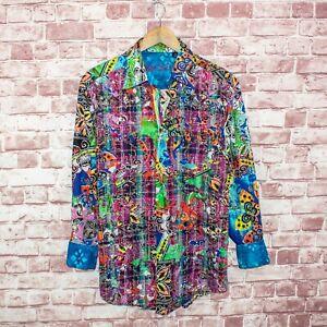 Robert-Graham-Limited-Edition-Shirt-Butterfly-Colorful-Print-Flip-Cuff-Sz-M