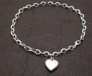 Puffed-Heart-Tag-Charm-Oval-Link-Ankle-Bracelet-Anklet-Real-925-Sterling-Silver