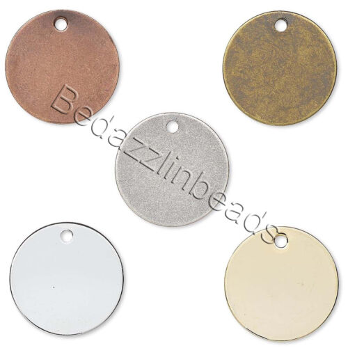 1000 Silver 12mm Round Flat Circle Blank Coin Stamping Charms Plated Brass Metal