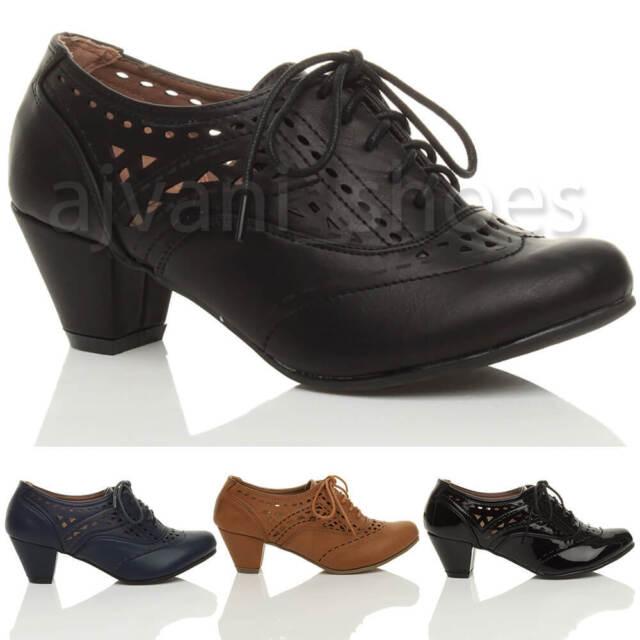Ladies Spot On Brogue Detail Lace Up Shoe F8R0107