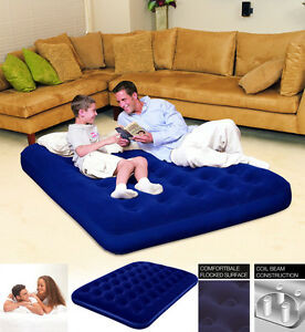FLOCKED-DOUBLE-COMFORT-QUEST-AIR-BED-INFLATABLE-AIRBED-BLUE-75-x-54-x-8-5-INCH