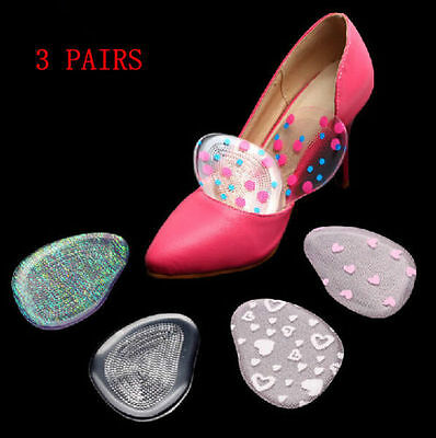 3 Pairs Silicone Gel Cushion Insert Insoles Foot Care High Heel Shoe Front Pads