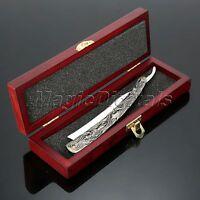 Men's Shaving Wood Box Gift Set Aluminum Handle Steel Blade Straight Razor Knife