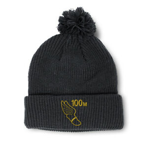 Pom Pom Beanies for Women 100 Meters Race Gold Embroidery Acrylic Skull Cap
