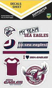NRL-Manly-Sea-Eagles-UV-Car-Tattoo-Mixed-Sticker-iTag-Decal-Sheet