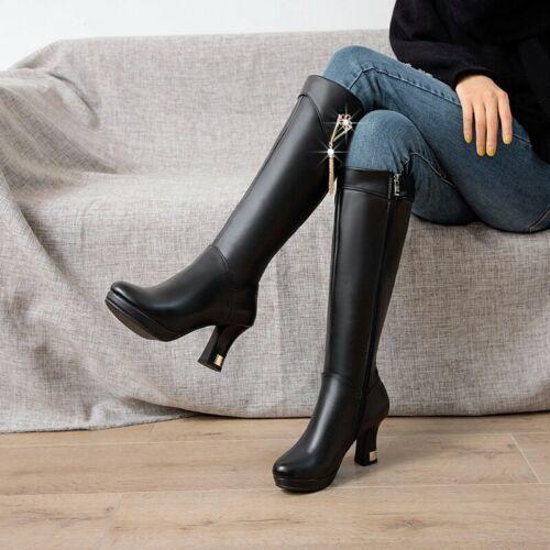 Details about  /41//42//43 Women Gothic Round Toe Block Heel Knee High Boots Work Fashion Pumps D