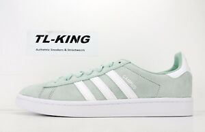 buy online 5679b a1484 Image is loading Adidas-Originals-Campus-Adicolor-Suede-Ash-Green-White-