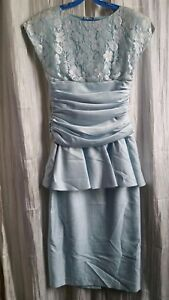 BNWT-Ladies-Satin-Lace-Dress-Sz-10-Pale-Blue-Ruched-Peplum-Fully-Lined
