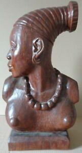 AFRIKAANSE SCHOOL (XXe) / MANGBETU VROUW / SCULPTUUR EXOTISCH HOUT / H=50cm