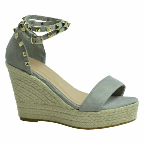 New Womens Wedge Espadrille Suede Effect Studded Ankle Strap Casual Formal Shoes