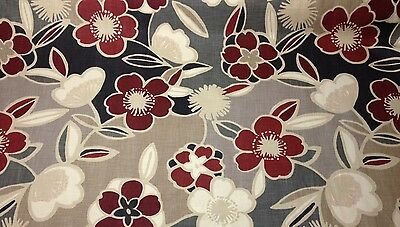 """RICHLOOM TRENDSETTER MANHATTAN  RED CHARCOAL FLORAL FURNITURE BY THE YARD 54""""W"""