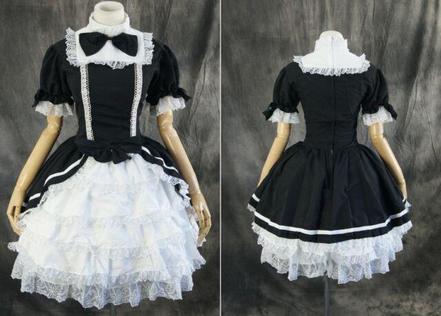 M-3105 nach Maß schwarz black Gothic Lolita Cosplay Kostüm costume Kleid dress