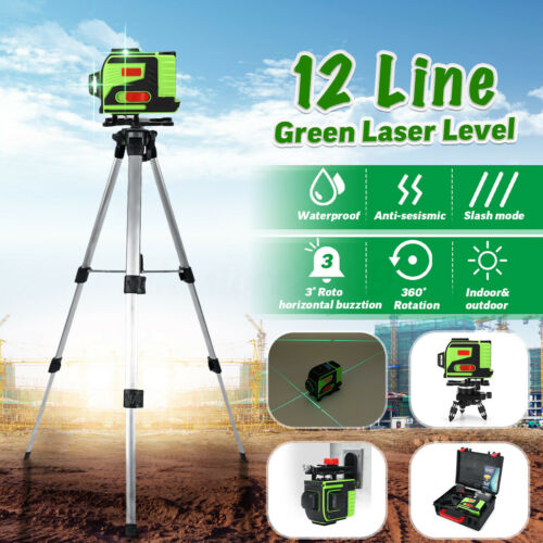 12 Line Laser Level Self Leveling 3D 360° Rotary Cross Measure W// Remote Control
