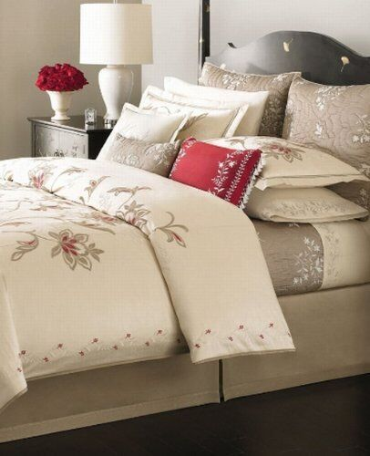 Martha Stewart DREAMTIME Twin 3pc DUVET SHAM PILLOW Cream Red Tan Embroidery 525