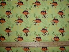 Cotton Fabric Artist of Kolea Monkey and banana on GREEN end of bolt 1 3/4 yards