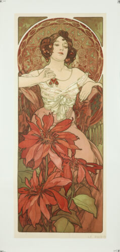 Vintage Style Alphonse Mucha Poster GIANT STICKER Art Nouveau Ruby Red Jewel
